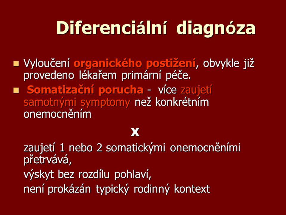 Diferenci á ln í diagn ó za Vyloučení organického postižení, obvykle již provedeno lékařem primární péče. Vyloučení organického postižení, obvykle již