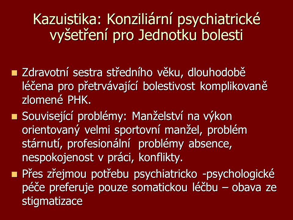 Kazuistika: Konziliární psychiatrické vyšetření pro Jednotku bolesti Zdravotní sestra středního věku, dlouhodobě léčena pro přetrvávající bolestivost