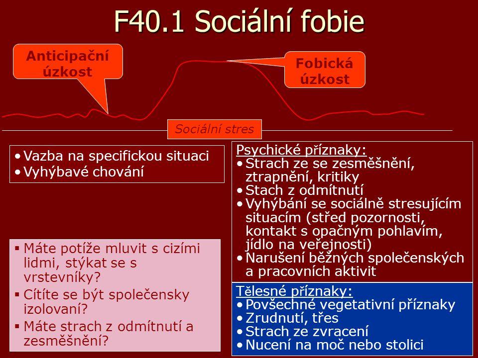 F40.1 Sociální fobie Vazba na specifickou situaci Vyhýbavé chování Psychické p ř íznaky: Strach ze se zesměšnění, ztrapnění, kritiky Stach z odmítnutí