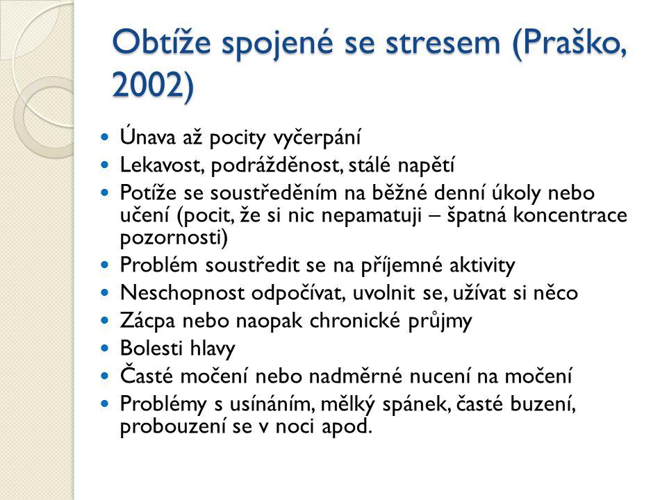 Obtíže spojené se stresem (Praško, 2002) Únava až pocity vyčerpání Lekavost, podrážděnost, stálé napětí Potíže se soustředěním na běžné denní úkoly ne