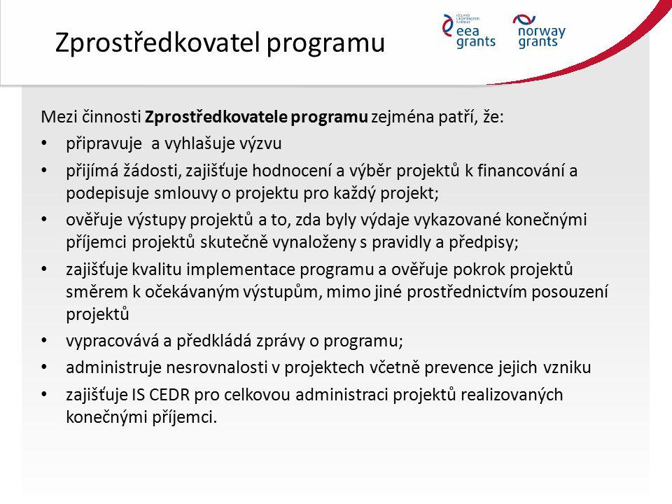 Zprostředkovatel programu Mezi činnosti Zprostředkovatele programu zejména patří, že: připravuje a vyhlašuje výzvu přijímá žádosti, zajišťuje hodnocení a výběr projektů k financování a podepisuje smlouvy o projektu pro každý projekt; ověřuje výstupy projektů a to, zda byly výdaje vykazované konečnými příjemci projektů skutečně vynaloženy s pravidly a předpisy; zajišťuje kvalitu implementace programu a ověřuje pokrok projektů směrem k očekávaným výstupům, mimo jiné prostřednictvím posouzení projektů vypracovává a předkládá zprávy o programu; administruje nesrovnalosti v projektech včetně prevence jejich vzniku zajišťuje IS CEDR pro celkovou administraci projektů realizovaných konečnými příjemci.