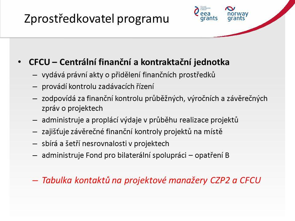 Zprostředkovatel programu CFCU – Centrální finanční a kontraktační jednotka – vydává právní akty o přidělení finančních prostředků – provádí kontrolu zadávacích řízení – zodpovídá za finanční kontrolu průběžných, výročních a závěrečných zpráv o projektech – administruje a proplácí výdaje v průběhu realizace projektů – zajišťuje závěrečné finanční kontroly projektů na místě – sbírá a šetří nesrovnalosti v projektech – administruje Fond pro bilaterální spolupráci – opatření B – Tabulka kontaktů na projektové manažery CZP2 a CFCU
