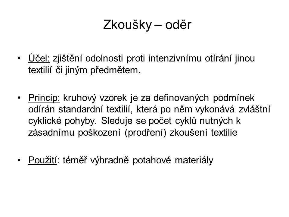 Účel: zjištění odolnosti proti intenzivnímu otírání jinou textilií či jiným předmětem. Princip: kruhový vzorek je za definovaných podmínek odírán stan