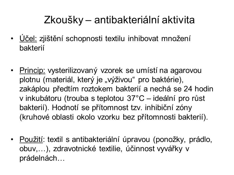 Zkoušky – antibakteriální aktivita Účel: zjištění schopnosti textilu inhibovat množení bakterií Princip: vysterilizovaný vzorek se umístí na agarovou