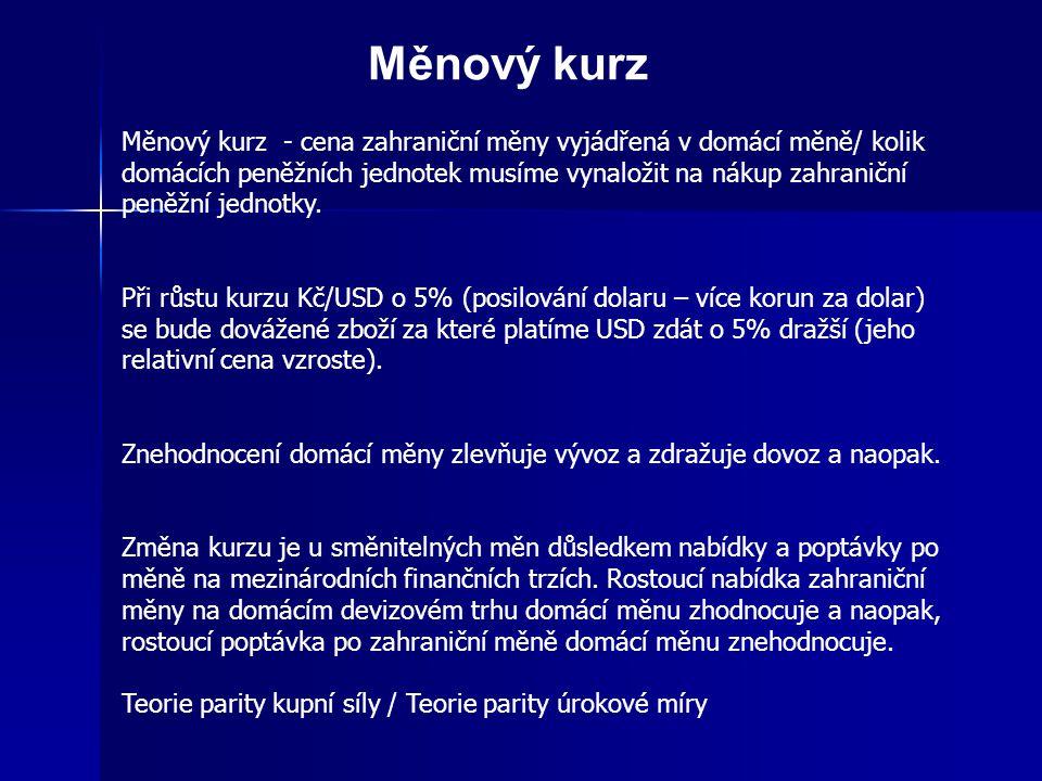 Kurzový režim – měnová soustava Obecně lze rozlišit dva druhy měnových kurzů 1) pevné (fixní) – kurs pevně vázaný na jednu měnu, kurs vázaný k měnovému koši, kurs posuvně zavěšený 2) pohyblivé (plovoucí floating) - čistý floating - určují převážně tržní síly nabídky a poptávky po měnách na devizových trzích - řízený floating – existují intervence centrální banky v případě silných vlivů devizových operací a soukromých kapitálových toků Výhody pružných kurzů - možnost pružně přizpůsobovat úroveň domácích výrobních nákladů a cen zahraničním - není třeba devizových rezerv k intervencím - možnost provádět samostatnou měnovou politiku, která omezuje přelévání inflace Nevýhody pružných kurzů - nestabilita - spekulativní pohyb kapitálu, vliv na výrobní sféru, rizika a nutnost jištění