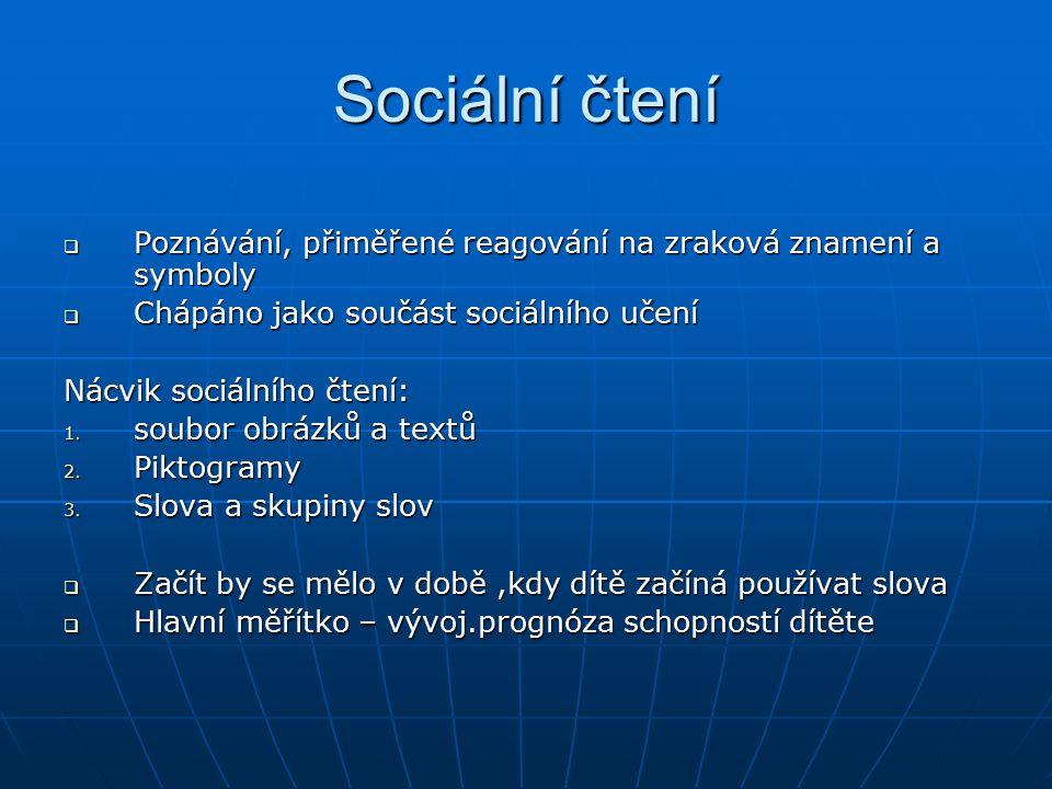 Sociální čtení  Poznávání, přiměřené reagování na zraková znamení a symboly  Chápáno jako součást sociálního učení Nácvik sociálního čtení: 1. soubo