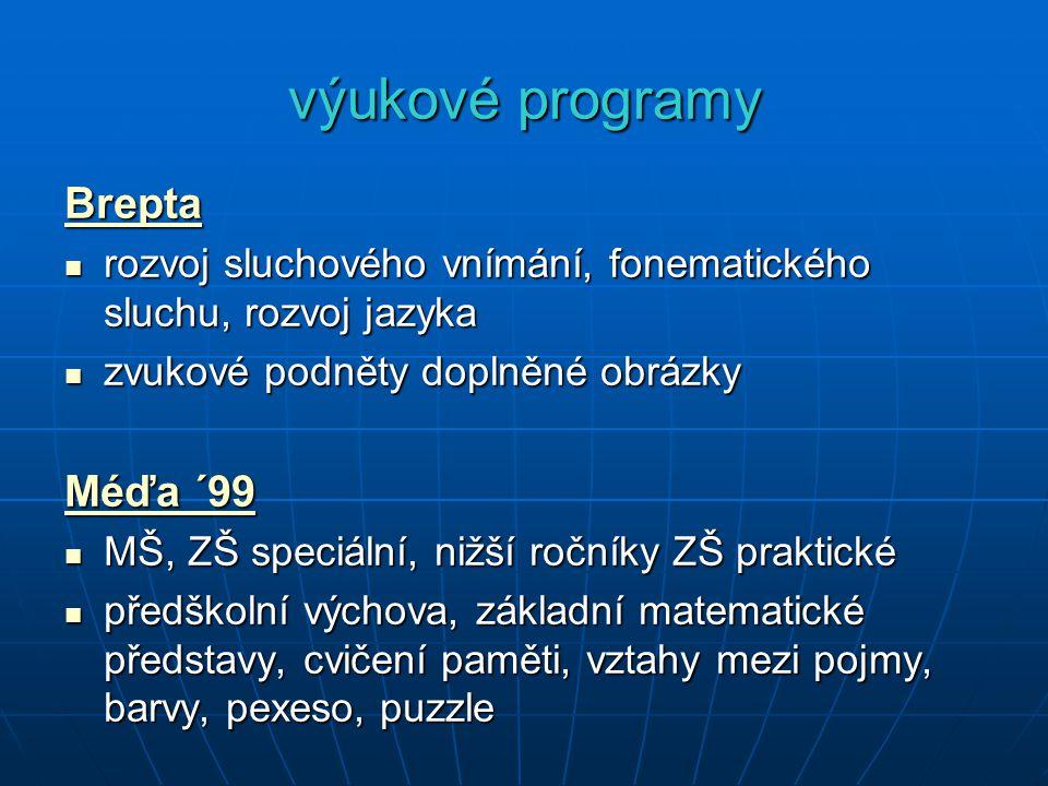 výukové programy Brepta rozvoj sluchového vnímání, fonematického sluchu, rozvoj jazyka rozvoj sluchového vnímání, fonematického sluchu, rozvoj jazyka