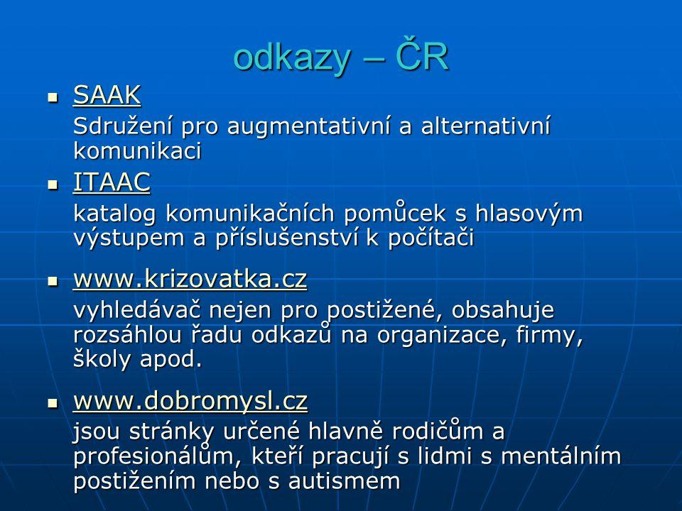 odkazy – ČR SAAK SAAK SAAK Sdružení pro augmentativní a alternativní komunikaci ITAAC ITAAC ITAAC katalog komunikačních pomůcek s hlasovým výstupem a