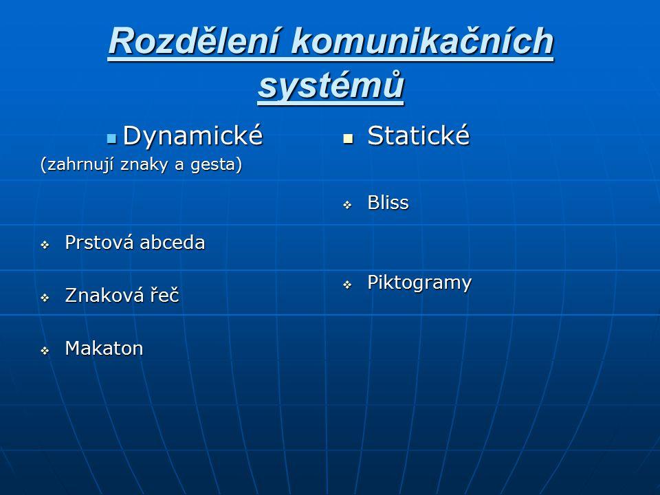 Rozdělení komunikačních systémů Dynamické Dynamické (zahrnují znaky a gesta)  Prstová abceda  Znaková řeč  Makaton Statické Statické  Bliss  Pikt