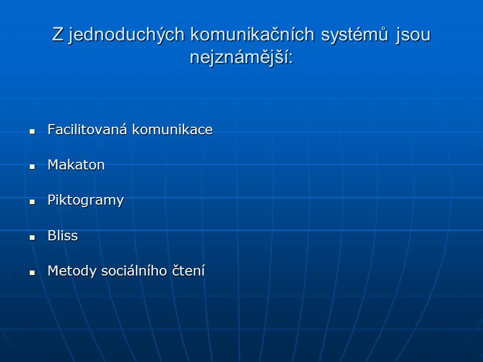Z jednoduchých komunikačních systémů jsou nejznámější: Facilitovaná komunikace Facilitovaná komunikace Makaton Makaton Piktogramy Piktogramy Bliss Bli