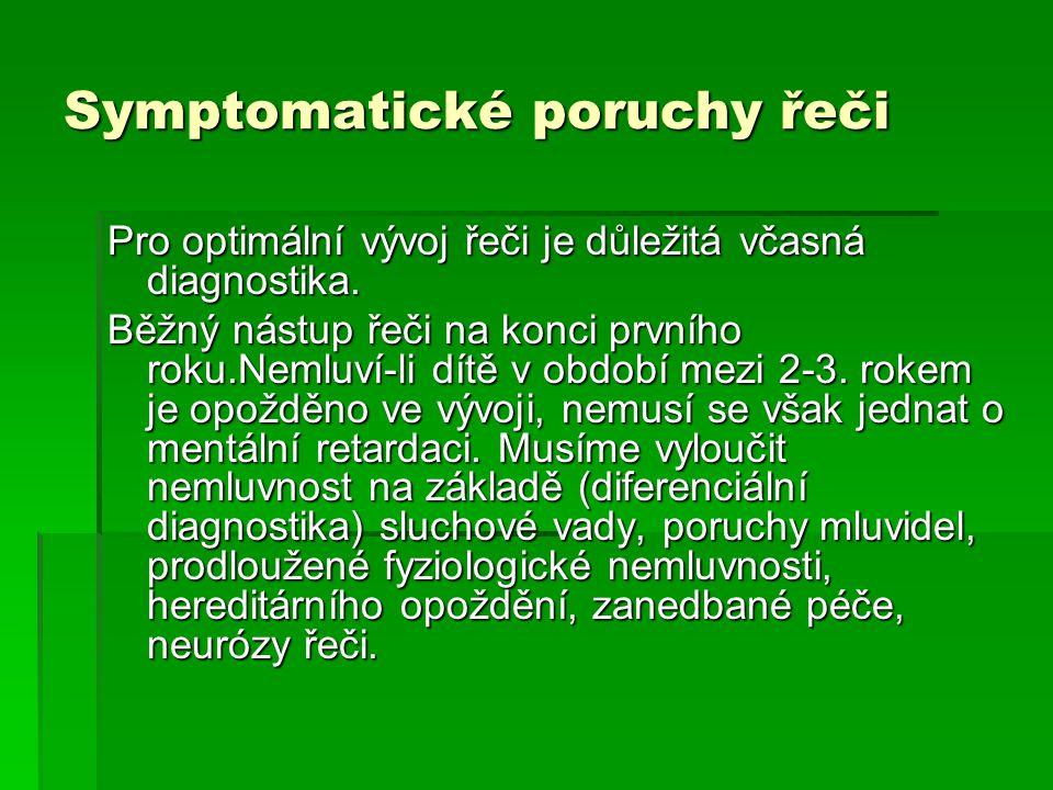 Symptomatické poruchy řeči Pro optimální vývoj řeči je důležitá včasná diagnostika. Běžný nástup řeči na konci prvního roku.Nemluví-li dítě v období m