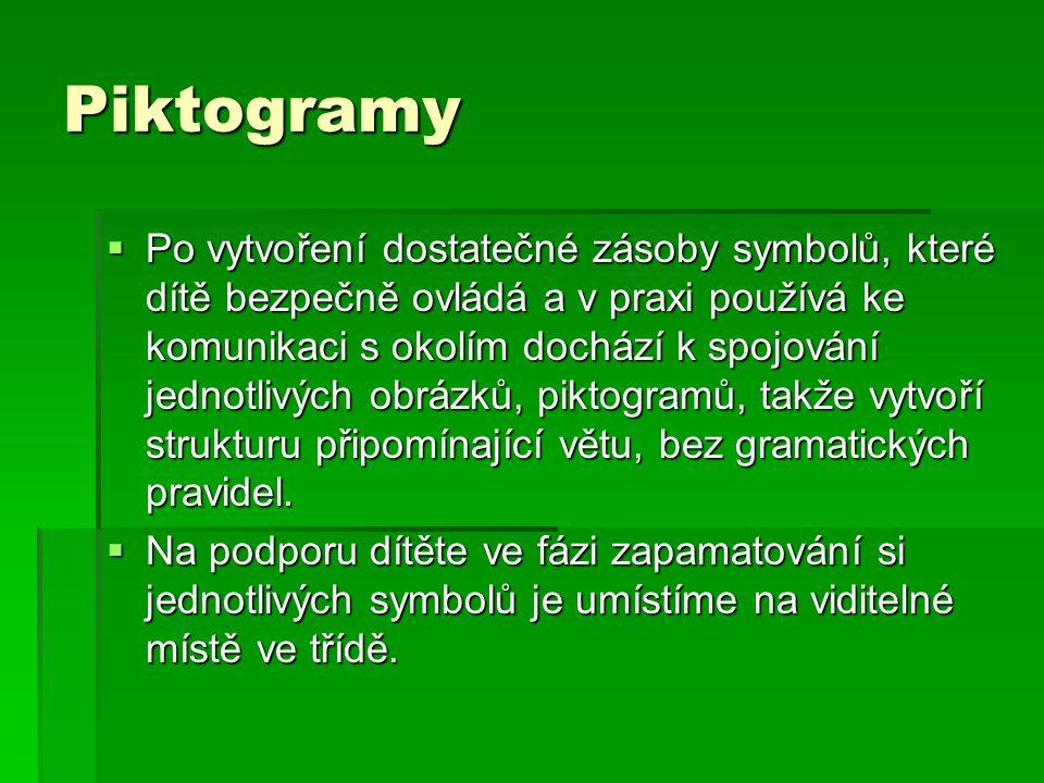 Piktogramy  Po vytvoření dostatečné zásoby symbolů, které dítě bezpečně ovládá a v praxi používá ke komunikaci s okolím dochází k spojování jednotliv