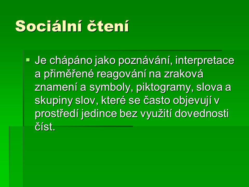 Sociální čtení  Je chápáno jako poznávání, interpretace a přiměřené reagování na zraková znamení a symboly, piktogramy, slova a skupiny slov, které s