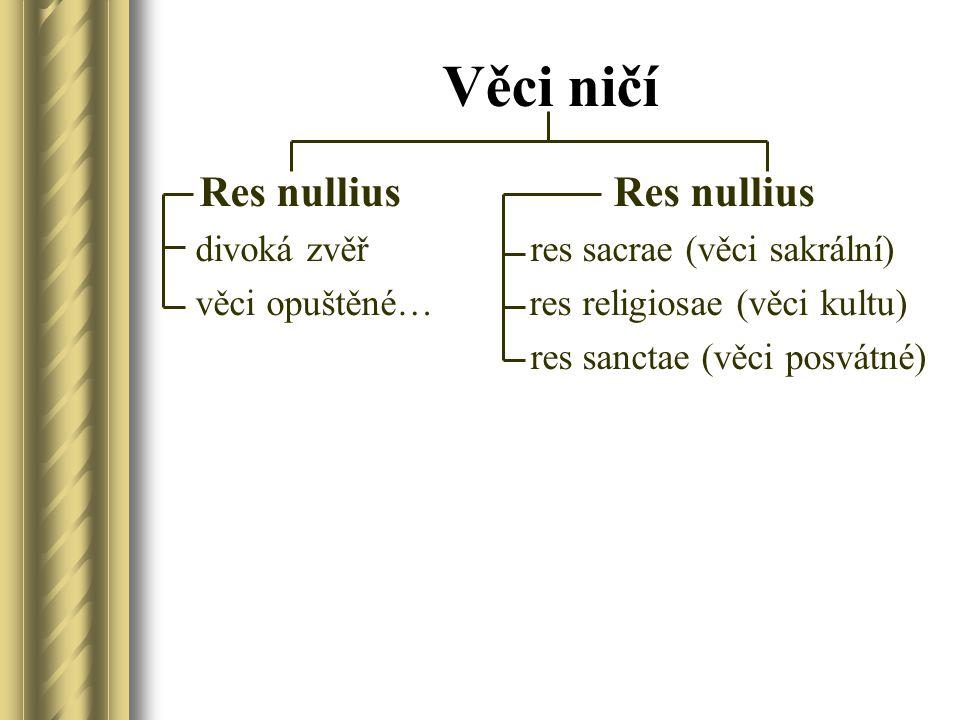 Věci ničí Res nullius Res nullius divoká zvěř res sacrae (věci sakrální) věci opuštěné… res religiosae (věci kultu) res sanctae (věci posvátné)