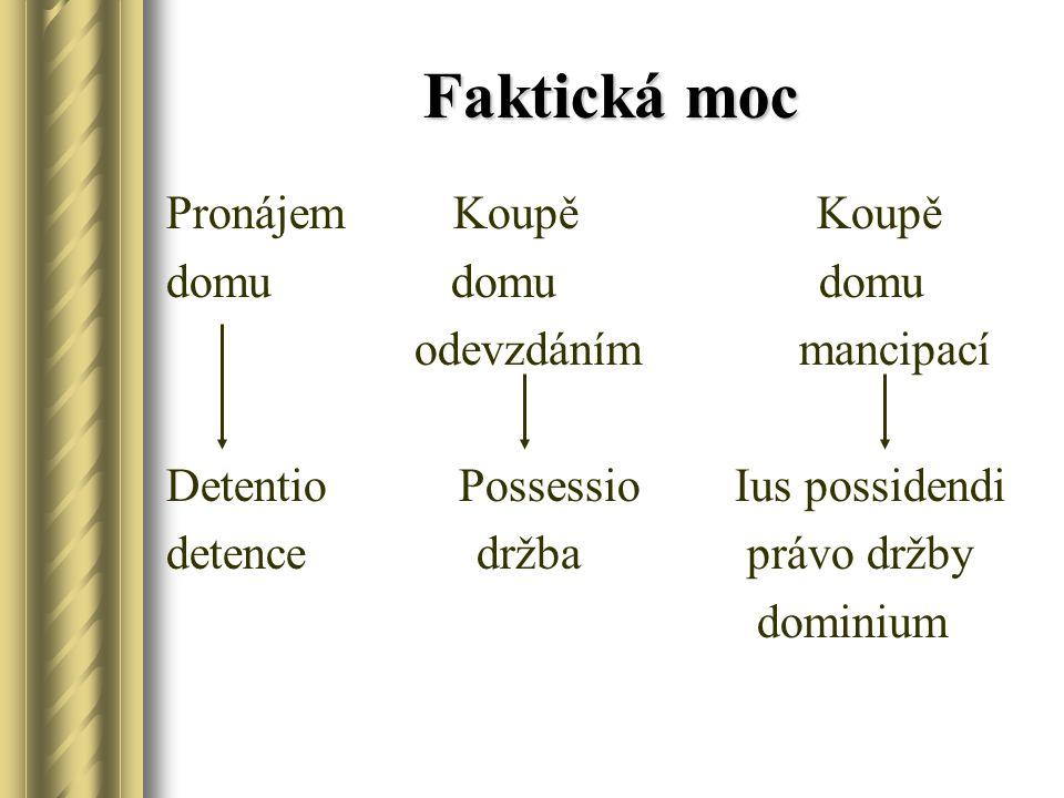 Possessio Držba lat.possessio – je faktická všeobecná moc nad věcí (hmotou).