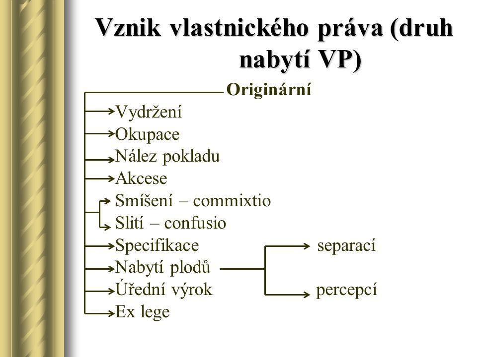 Vznik vlastnického práva (druh nabytí VP) Originární Vydržení Okupace Nález pokladu Akcese Smíšení – commixtio Slití – confusio Specifikace separací N