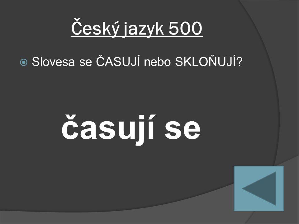 Český jazyk 500  Slovesa se ČASUJÍ nebo SKLOŇUJÍ časují se