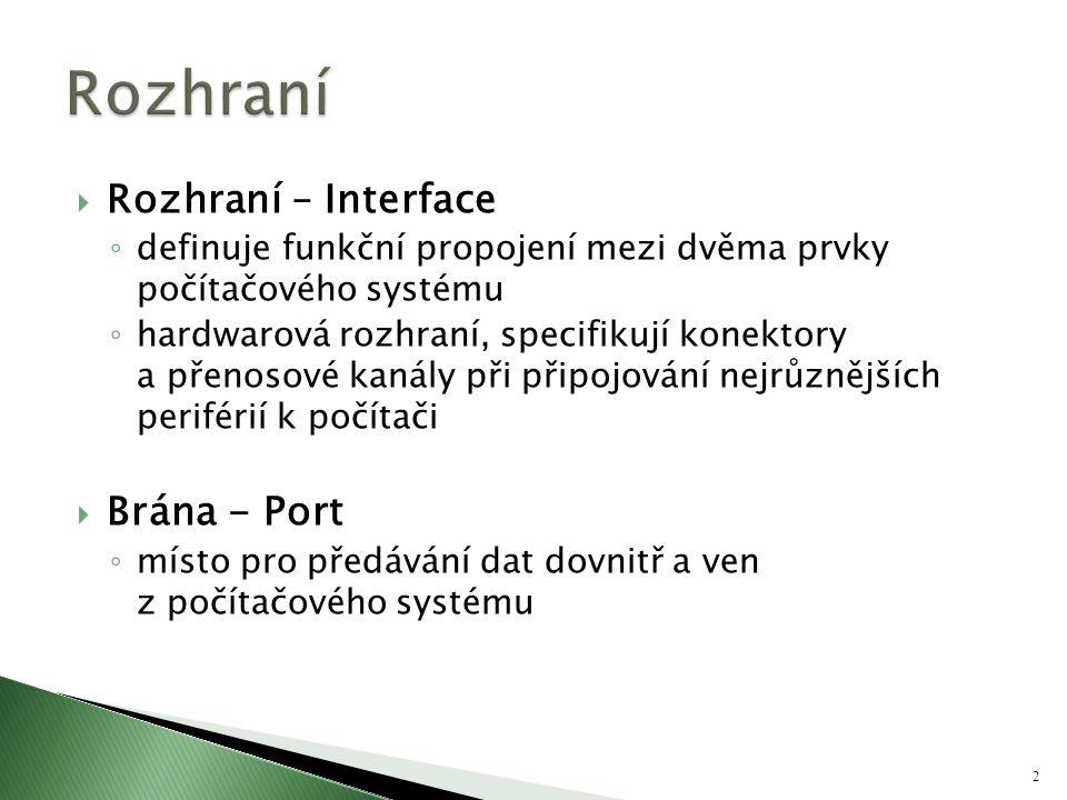  Rozhraní – Interface ◦ definuje funkční propojení mezi dvěma prvky počítačového systému ◦ hardwarová rozhraní, specifikují konektory a přenosové kan