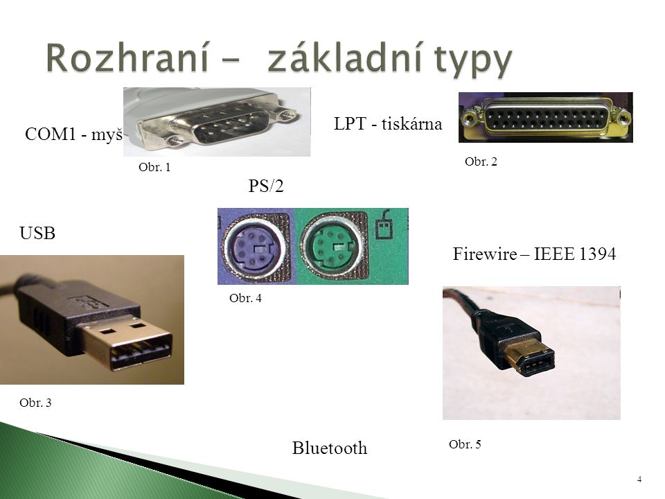 4 COM1 - myš Bluetooth Obr. 2 USB Obr. 3 LPT - tiskárna PS/2 Obr. 4 Firewire – IEEE 1394 Obr. 5 Obr. 1