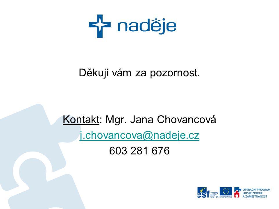 Děkuji vám za pozornost. Kontakt: Mgr. Jana Chovancová j.chovancova@nadeje.cz 603 281 676