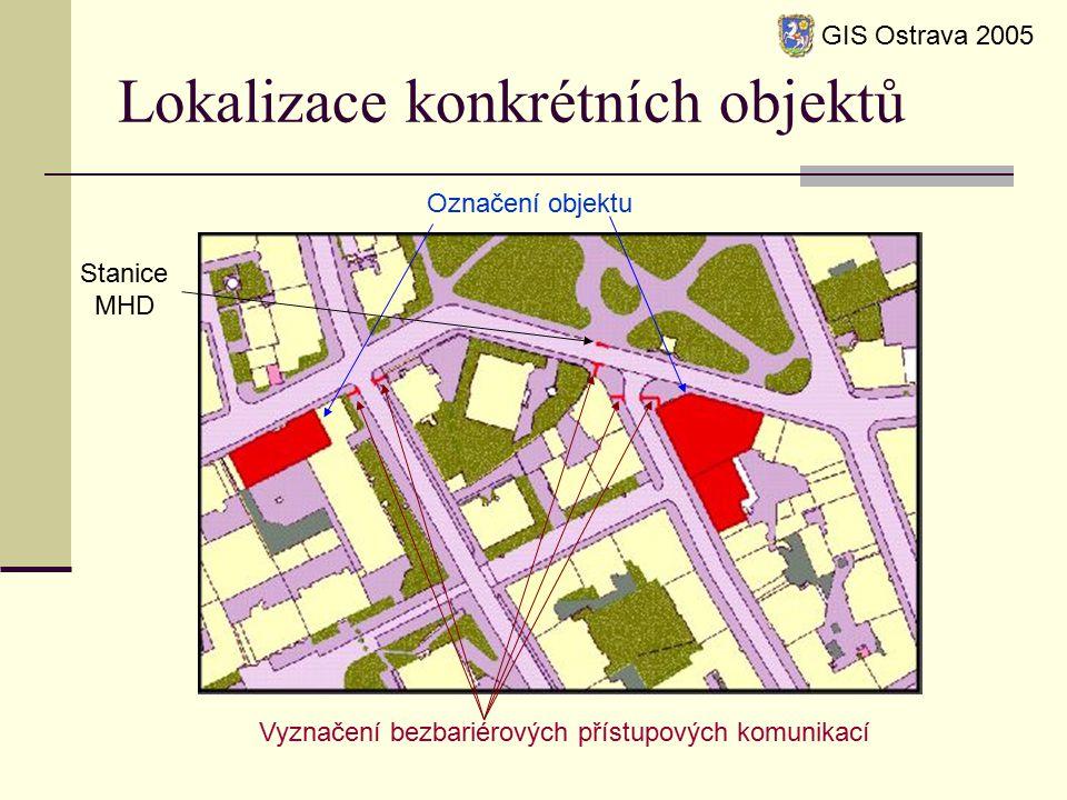 Lokalizace konkrétních objektů GIS Ostrava 2005 Označení objektu Vyznačení bezbariérových přístupových komunikací Stanice MHD