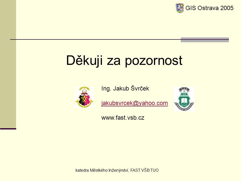 GIS Ostrava 2005 katedra Městkého Inženýrství, FAST VŠB TUO Děkuji za pozornost Ing.