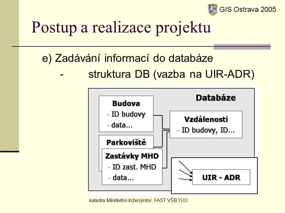 Postup a realizace projektu e) Zadávání informací do databáze -struktura DB (vazba na UIR-ADR) GIS Ostrava 2005 katedra Městkého Inženýrství, FAST VŠB TUO