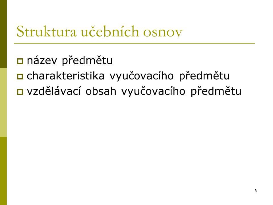 3 Struktura učebních osnov  název předmětu  charakteristika vyučovacího předmětu  vzdělávací obsah vyučovacího předmětu