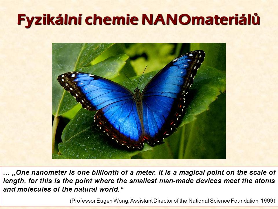"1 Fyzikální chemie NANOmateriál ů … ""One nanometer is one billionth of a meter. It is a magical point on the scale of length, for this is the point wh"