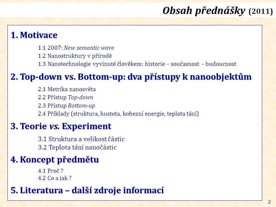 2 Obsah přednášky (2011) 1.