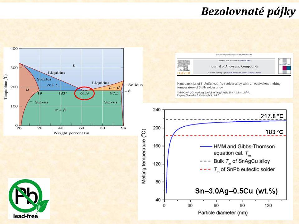 26 Bezolovnaté pájky 183 °C Sn–3.0Ag–0.5Cu (wt.%) 217.8 °C