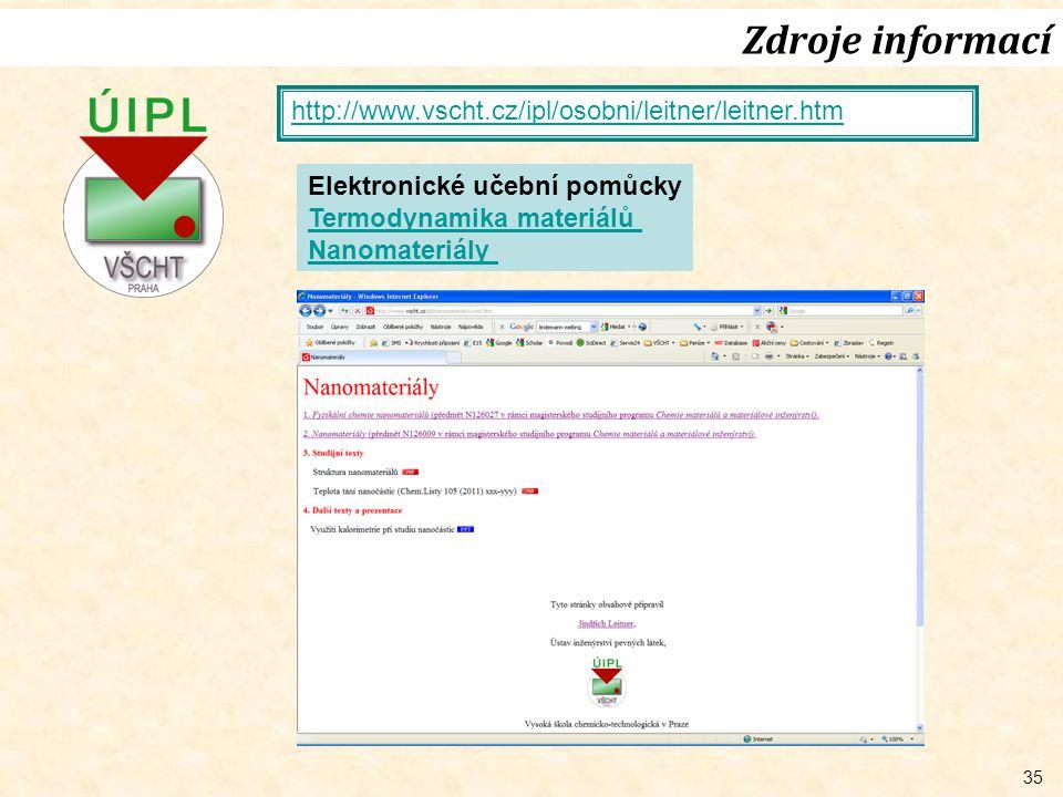 35 Zdroje informací http://www.vscht.cz/ipl/osobni/leitner/leitner.htm Elektronické učební pomůcky Termodynamika materiálů Nanomateriály