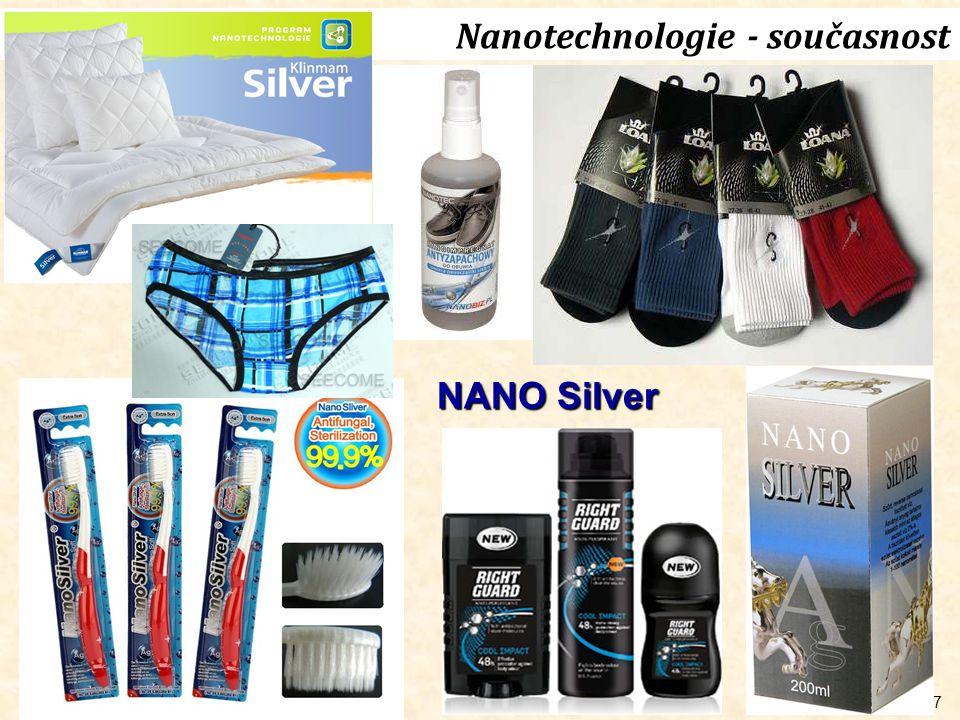 8 Nanotechnologie - současnost Elektronika Paměťová média (oxidy, FePt, …) Si komponenty, polymery QD (ZnS, CdSe), lasery, biosenzory MedicínaFarmacie Nanočástice jako kontrastní diagnostická media Nanosystémy pro transtport léčiv Nanostrukturované biomateriály, nanomembrány pro dialýzu, Chemickýprůmysl Katalyzátory a fotokatalyzátory Nanostrukturovaný uhlík Pigmenty, ferofluidy Energetika Li-iontové akumulátory (LiCoO 2, LiMn 2 O 4, Li 4 Ti 5 O 12, …) Fotovoltaika (ZnO, TiO 2 ) Materiály pro akumulaci vodíku (hydridy, C-nanostruktury) Automobilovýprůmysl Katalyzátory výfukových plynů Barvy a laky, ochranné povlaky Saze do pneumatik Ostatní Textilní nanovlákna, antibakteriální úprava textilií Kosmetika Nanomembrány pro čištění odpadních vod