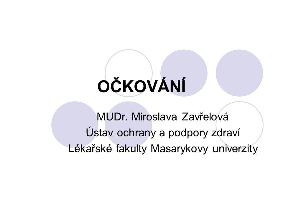 OČKOVÁNÍ MUDr. Miroslava Zavřelová Ústav ochrany a podpory zdraví Lékařské fakulty Masarykovy univerzity