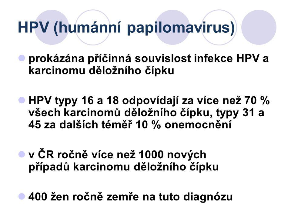 HPV (humánní papilomavirus) prokázána příčinná souvislost infekce HPV a karcinomu děložního čípku HPV typy 16 a 18 odpovídají za více než 70 % všech k
