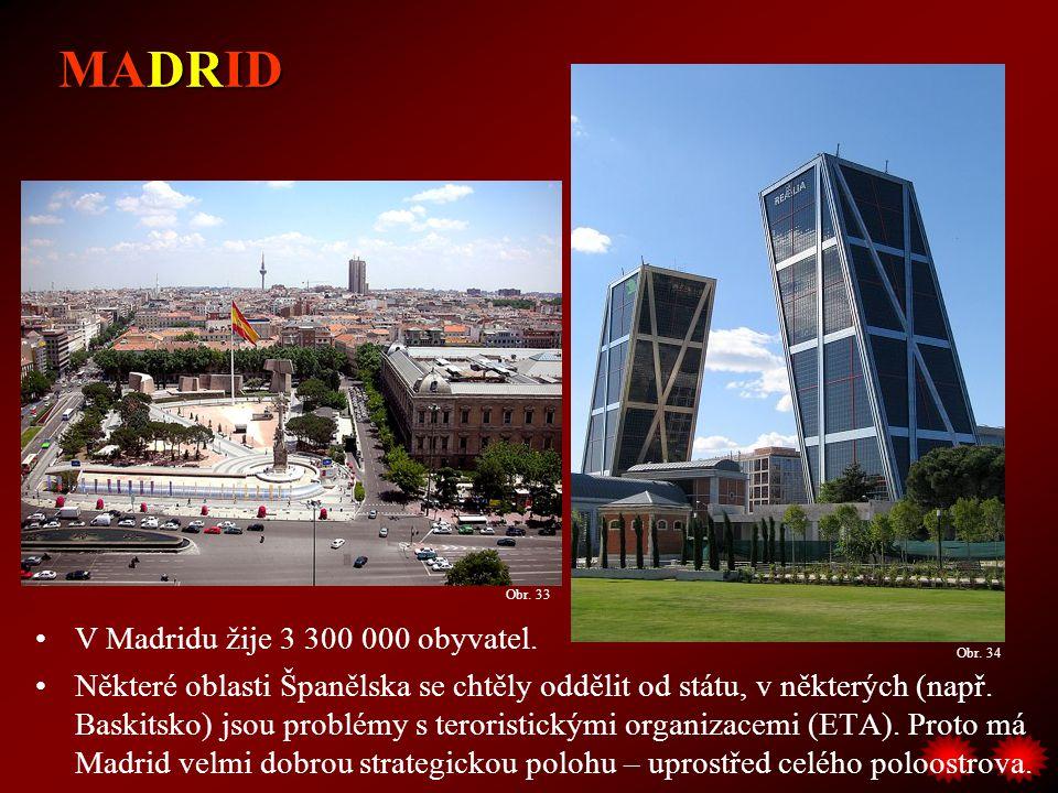 V Madridu žije 3 300 000 obyvatel. Některé oblasti Španělska se chtěly oddělit od státu, v některých (např. Baskitsko) jsou problémy s teroristickými