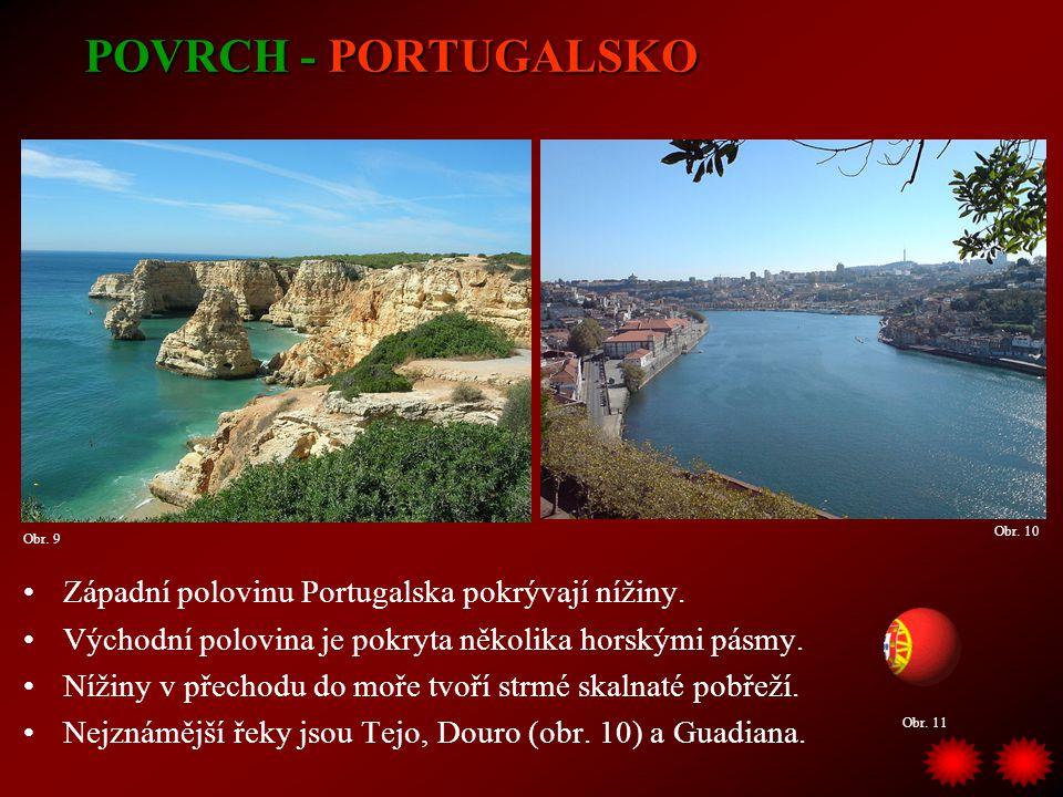 POVRCH - PORTUGALSKO Západní polovinu Portugalska pokrývají nížiny. Východní polovina je pokryta několika horskými pásmy. Nížiny v přechodu do moře tv