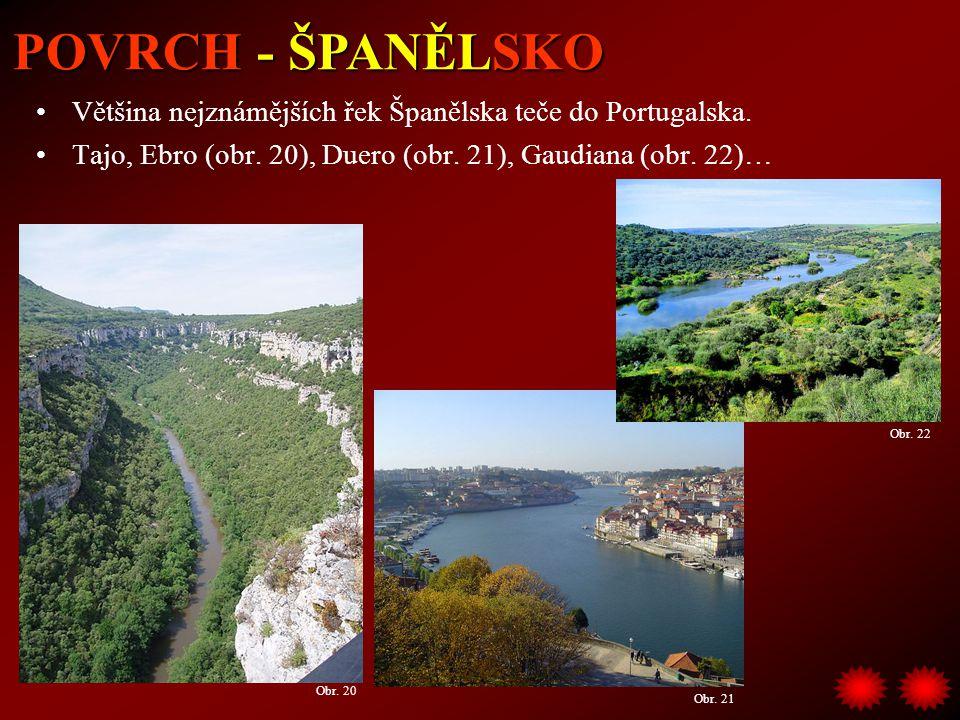 Většina nejznámějších řek Španělska teče do Portugalska. Tajo, Ebro (obr. 20), Duero (obr. 21), Gaudiana (obr. 22)… POVRCH - ŠPANĚLSKO Obr. 20 Obr. 21