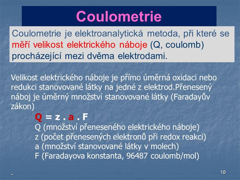 10 Velikost elektrického náboje je přímo úměrná oxidaci nebo redukci stanovované látky na jedné z elektrod.Přenesený náboj je úměrný množství stanovované látky (Faradayův zákon) Q = z.