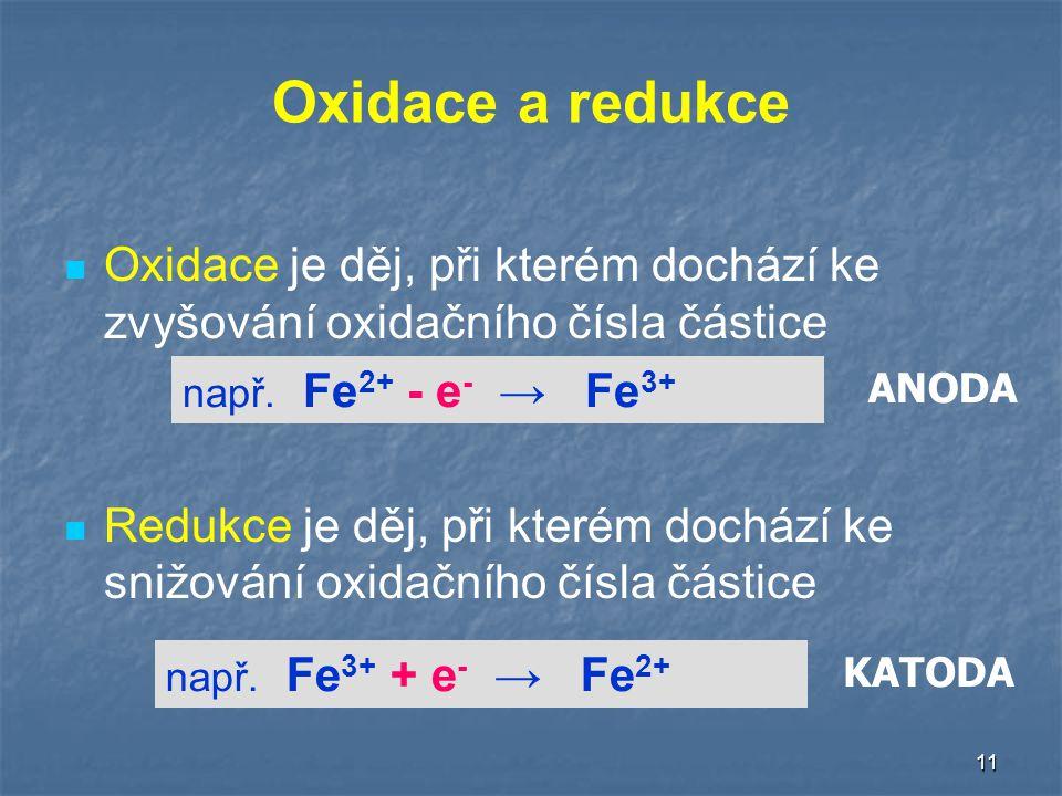 11 Oxidace a redukce Oxidace je děj, při kterém dochází ke zvyšování oxidačního čísla částice Redukce je děj, při kterém dochází ke snižování oxidačního čísla částice např.