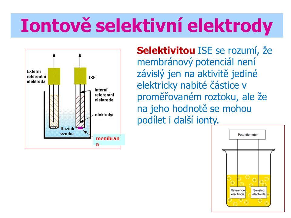Iontově selektivní elektrody membrán a Selektivitou ISE se rozumí, že membránový potenciál není závislý jen na aktivitě jediné elektricky nabité částice v proměřovaném roztoku, ale že na jeho hodnotě se mohou podílet i další ionty.