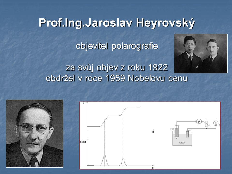 28 Prof.Ing.Jaroslav Heyrovský objevitel polarografie za svůj objev z roku 1922 obdržel v roce 1959 Nobelovu cenu
