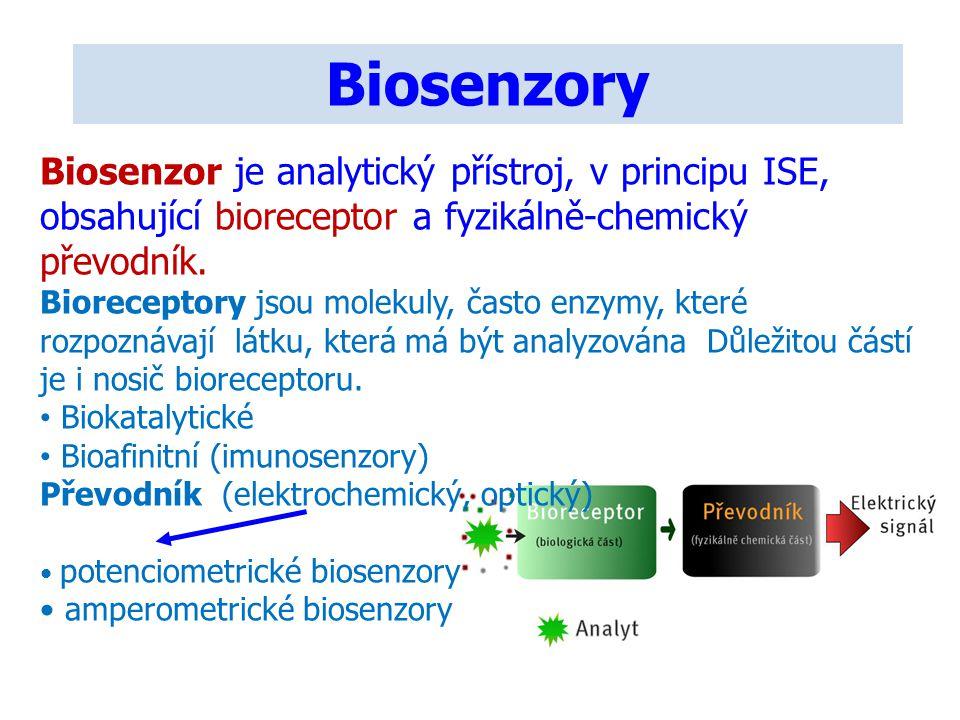 Biosenzory Biosenzor je analytický přístroj, v principu ISE, obsahující bioreceptor a fyzikálně-chemický převodník.