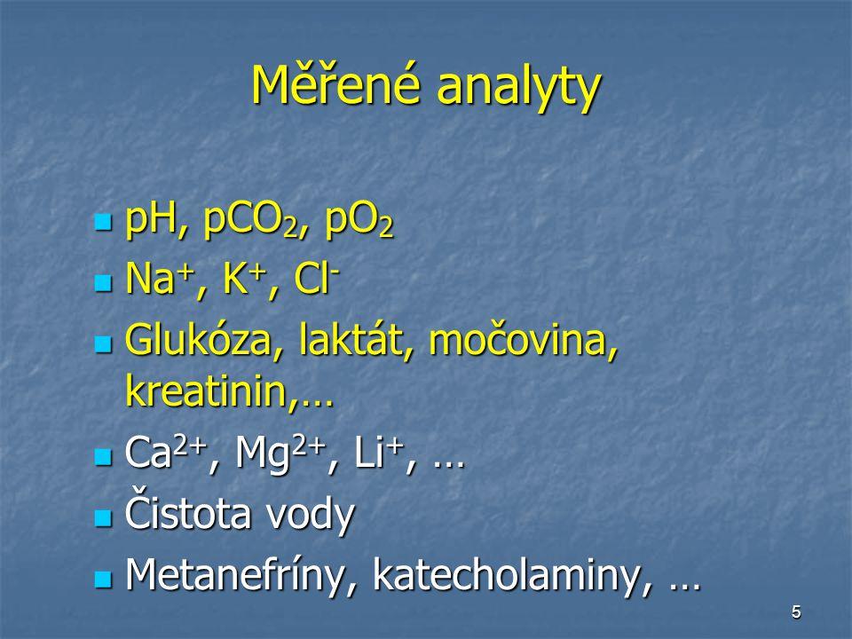 5 Měřené analyty pH, pCO 2, pO 2 pH, pCO 2, pO 2 Na +, K +, Cl - Na +, K +, Cl - Glukóza, laktát, močovina, kreatinin,… Glukóza, laktát, močovina, kreatinin,… Ca 2+, Mg 2+, Li +, … Ca 2+, Mg 2+, Li +, … Čistota vody Čistota vody Metanefríny, katecholaminy, … Metanefríny, katecholaminy, …