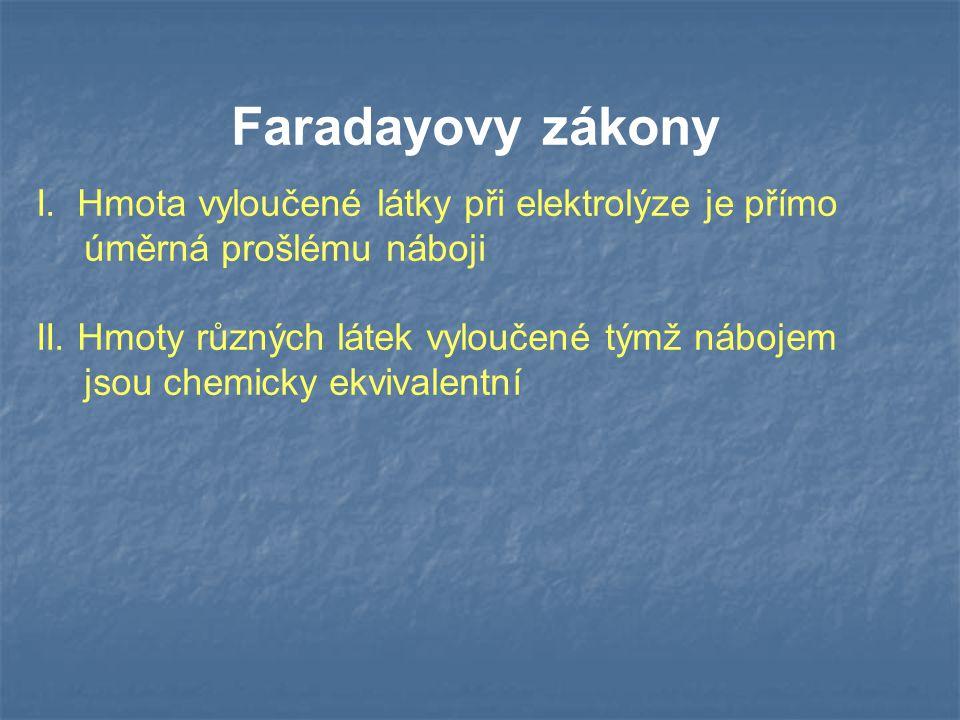 Faradayovy zákony I.Hmota vyloučené látky při elektrolýze je přímo úměrná prošlému náboji II.