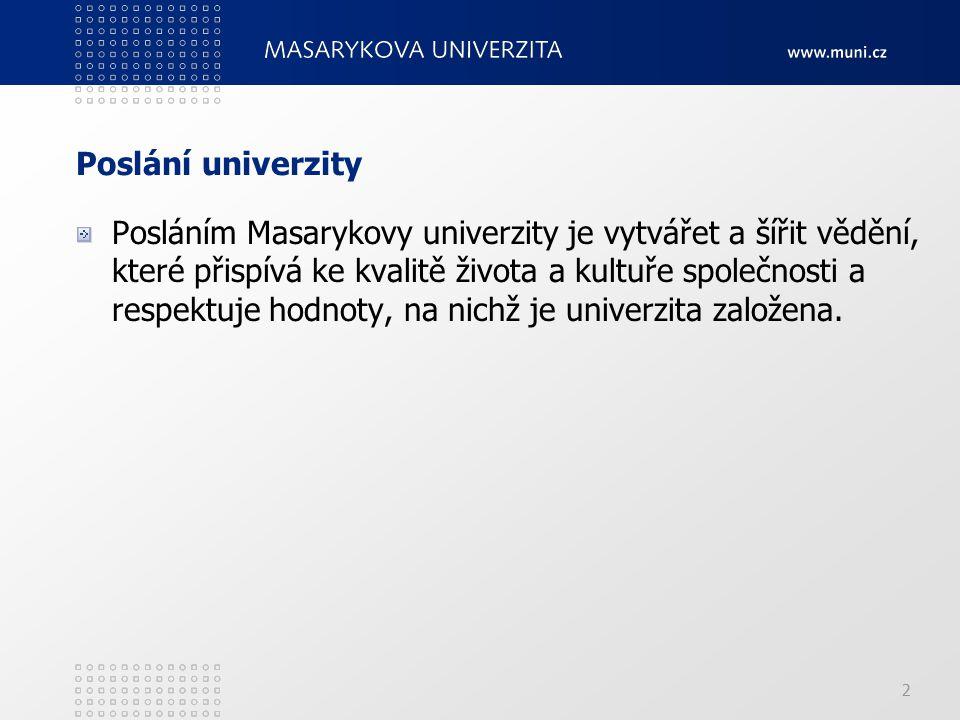 Poslání univerzity Posláním Masarykovy univerzity je vytvářet a šířit vědění, které přispívá ke kvalitě života a kultuře společnosti a respektuje hodn