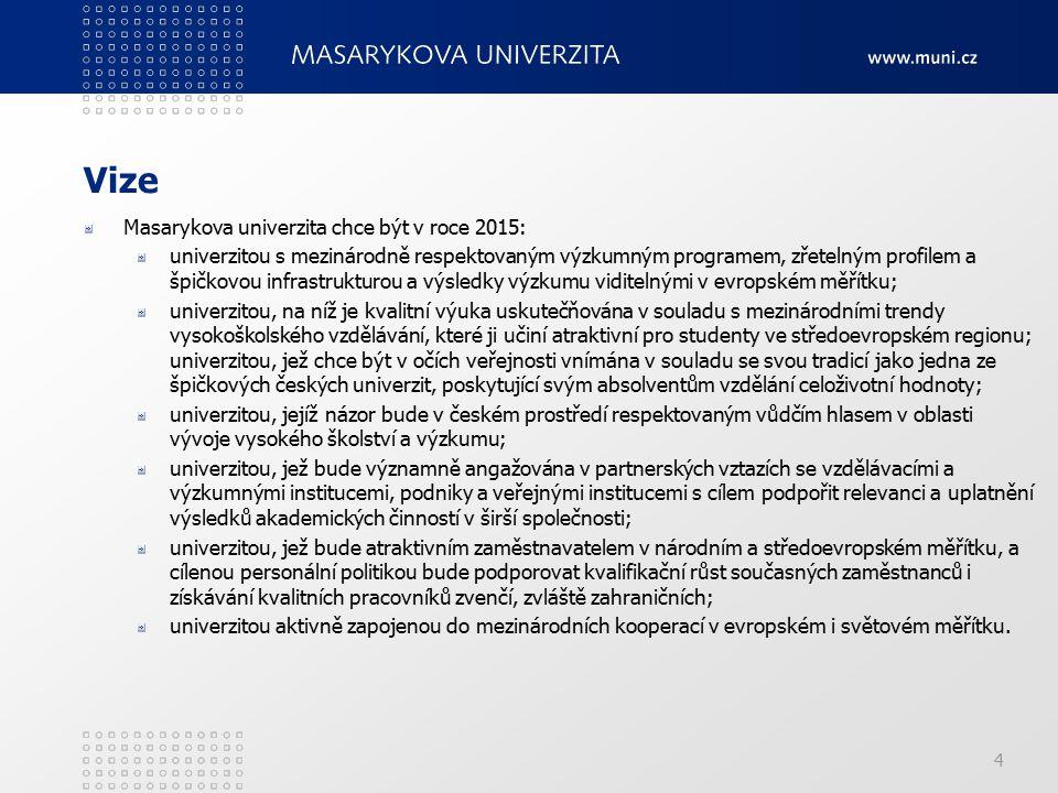4 Vize Masarykova univerzita chce být v roce 2015: univerzitou s mezinárodně respektovaným výzkumným programem, zřetelným profilem a špičkovou infrast