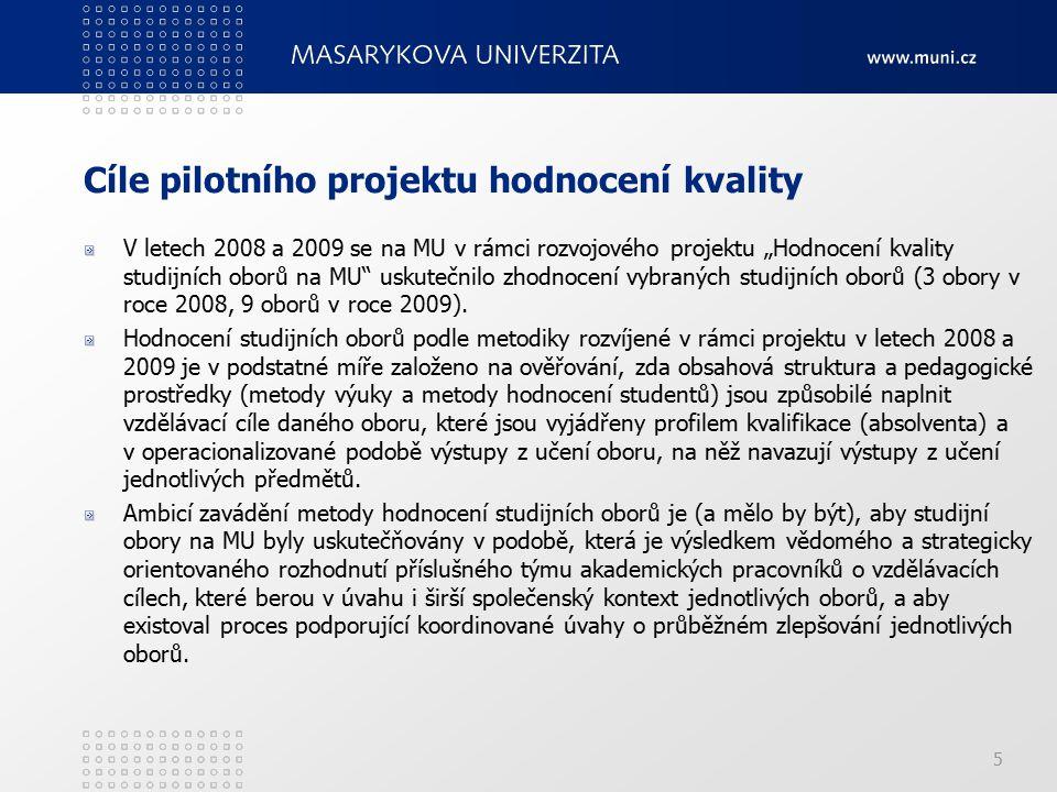"""Cíle pilotního projektu hodnocení kvality V letech 2008 a 2009 se na MU v rámci rozvojového projektu """"Hodnocení kvality studijních oborů na MU uskutečnilo zhodnocení vybraných studijních oborů (3 obory v roce 2008, 9 oborů v roce 2009)."""
