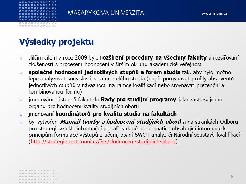 Výsledky projektu dílčím cílem v roce 2009 bylo rozšíření procedury na všechny fakulty a rozšiřování zkušeností s procesem hodnocení v širším okruhu a