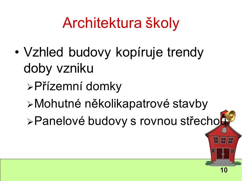 10 Architektura školy Vzhled budovy kopíruje trendy doby vzniku  Přízemní domky  Mohutné několikapatrové stavby  Panelové budovy s rovnou střechou